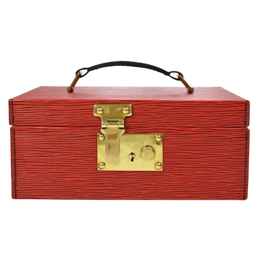 Louis Vuitton Red Leather Top Handle Satchel Vanity Cosmetic Travel Bag