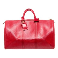 Louis Vuitton Red Monogram Epi leather Keepall 50cm Shoulder Bag
