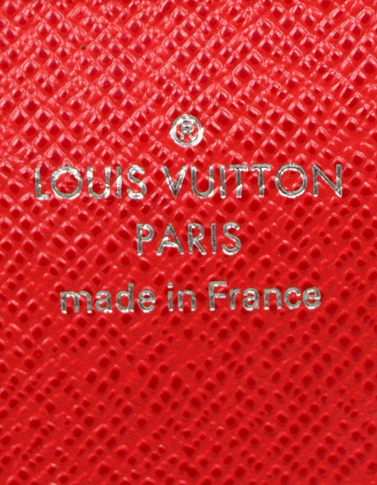 Louis Vuitton Red Monogram Leather Tribal Mask Wallet For Sale 8