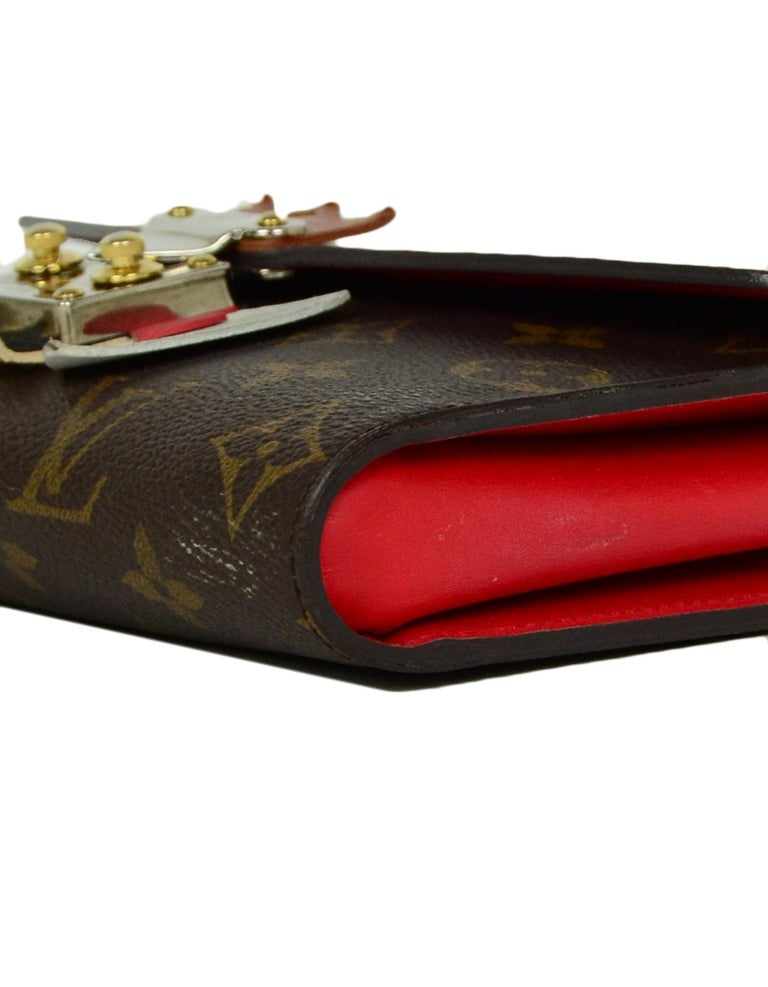 Louis Vuitton Red Monogram Leather Tribal Mask Wallet For Sale 1