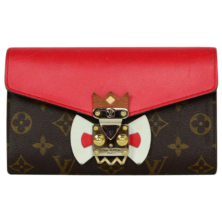 Louis Vuitton Red Monogram Leather Tribal Mask Wallet For Sale