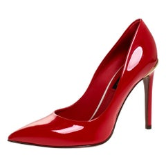 Louis Vuitton Red Patent Leather Eyeline Pumps Size 36