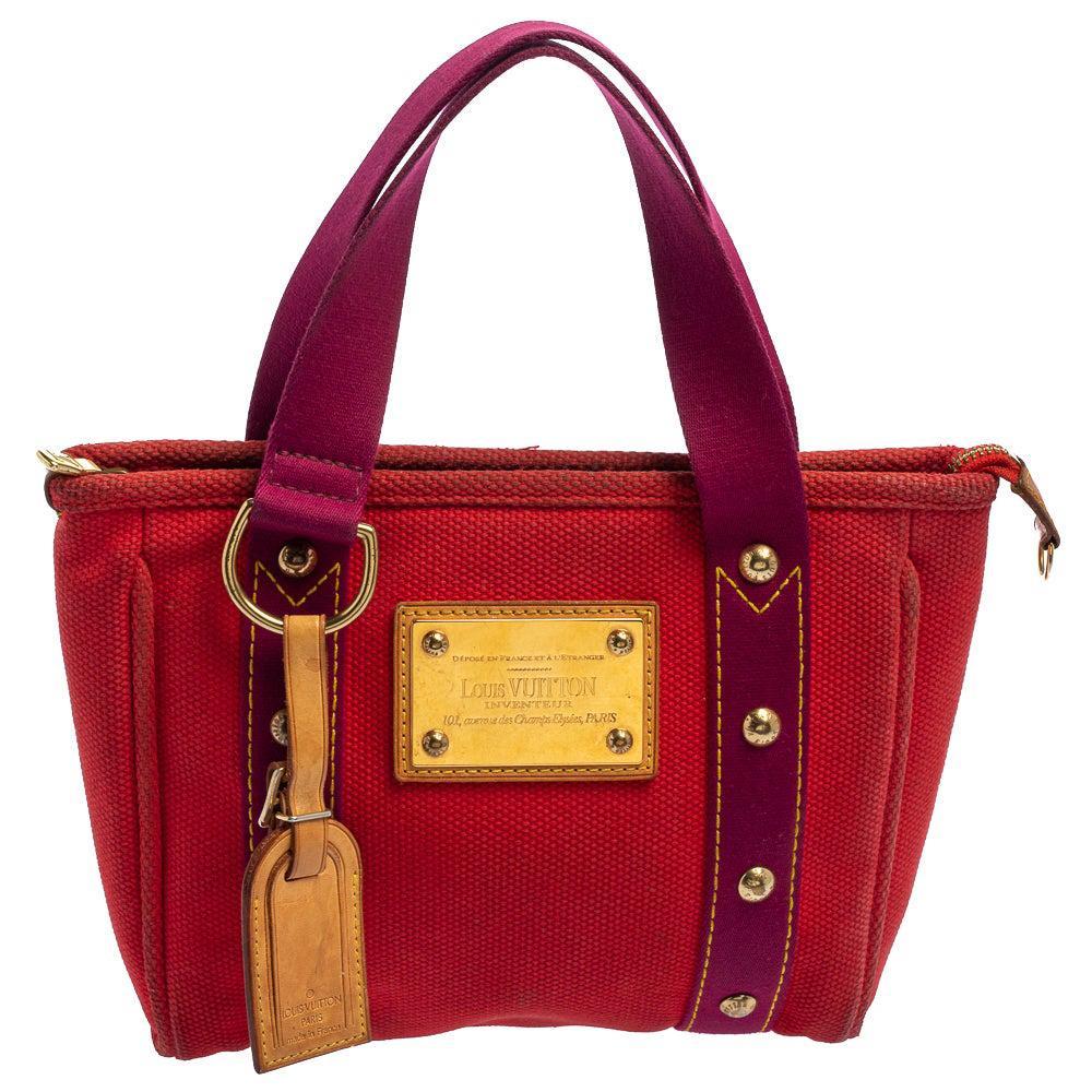 Louis Vuitton Red/Purple Canvas Antigua Cabas PM Bag