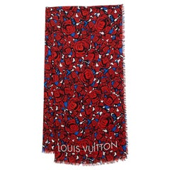 Louis Vuitton Red Silk Blend Rock N' Roses Stole
