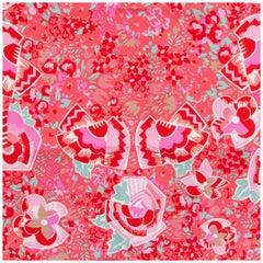 LOUIS VUITTON red silk FLORAL Scarf