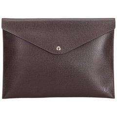 Louis Vuitton Red Taiga Document Case Clutch Bag France