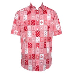 Louis Vuitton Red & White LV Cards Print Cotton Regular Fit Shirt L
