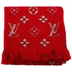 Louis Vuitton Red Wool & Silk Blend Logomania Shine Scarf