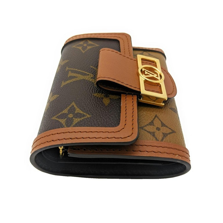 Brown Louis Vuitton Reverse Monogram Dauphine Compact Wallet For Sale