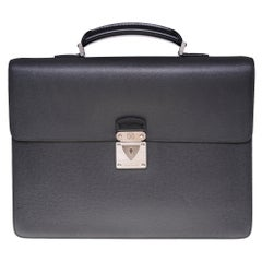 "Louis Vuitton ""Robusto"" Satchel in grey Taïga leather and silver hardware"