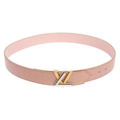 Louis Vuitton Rose Ballerine Epi Leather Twist Belt 85CM