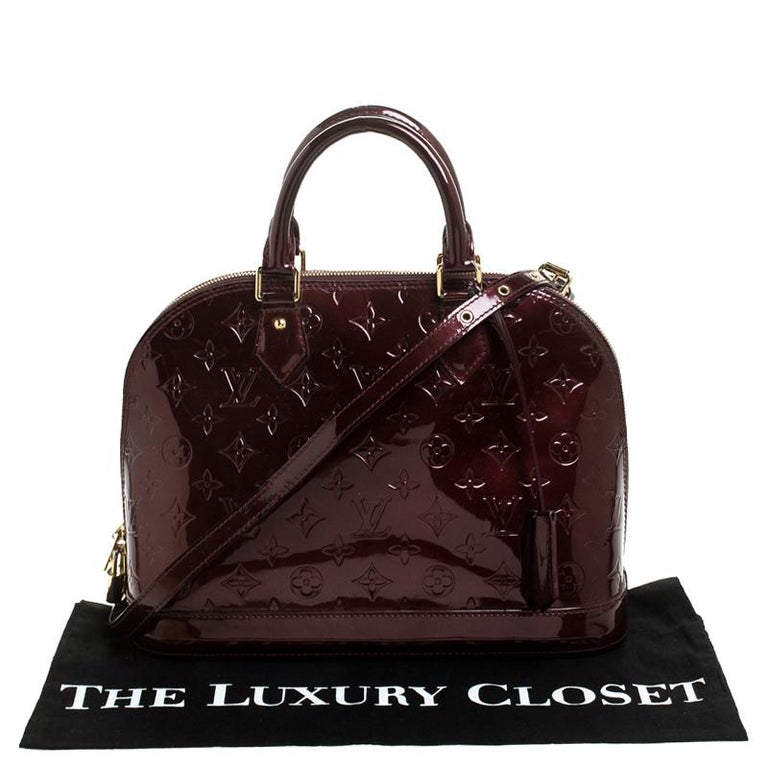 Louis Vuitton Rouge Fauviste Monogram Vernis Alma PM Bag For Sale 8