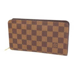 LOUIS VUITTON round zipper Portumone Zip unisex long wallet N61728 Damier ebene