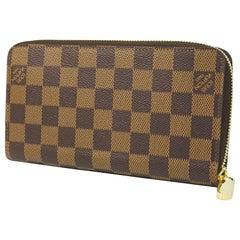 LOUIS VUITTON round zipper Zippy Wallet unisex long wallet N41661 Damier ebene