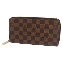 LOUIS VUITTON round zipper Zippy Wallet unisex long wallet N41661 Damier ebene