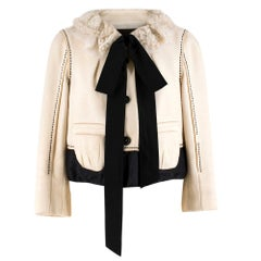 Louis Vuitton Ruffle-Collar Cream Wool-Blend Jacket SIZE FR 38