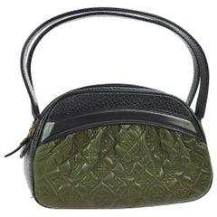 Louis Vuitton Runway Black Green Leather Monogram Top Handle Satchel Tote Bag