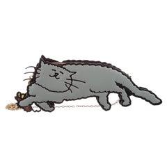 Louis Vuitton Runway Gray Epi Cat Mouse Gold Evening Top Satchel Shoulder Bag