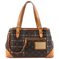 "Louis Vuitton  S/S 2007 ""Sac Riveting"" Brown Monogram Gold Studs Handbag Ltd Ed"