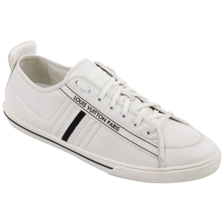 "LOUIS VUITTON S/S 2011 ""Cosmos"" White Leather Signature Low Top Trainers For Sale"