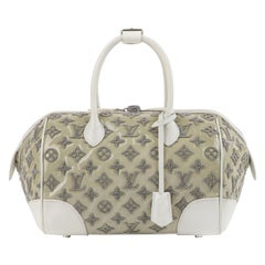 "LOUIS VUITTON S/S 2012 Taupe White Boucle Knit Monogram ""Speedy Round"" Handbag"