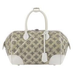 """LOUIS VUITTON S/S 2012 Taupe White Boucle Knit Monogram """"Speedy Round"""" Handbag"""
