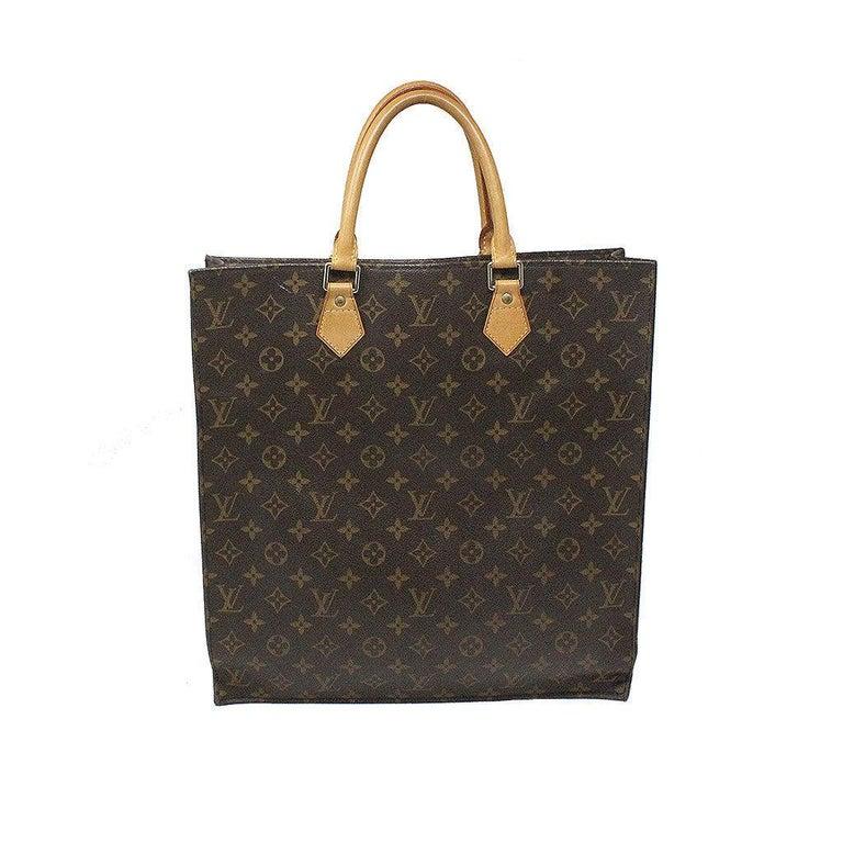 Louis Vuitton Sac Plat Monogram Handbag Large Tote For Sale