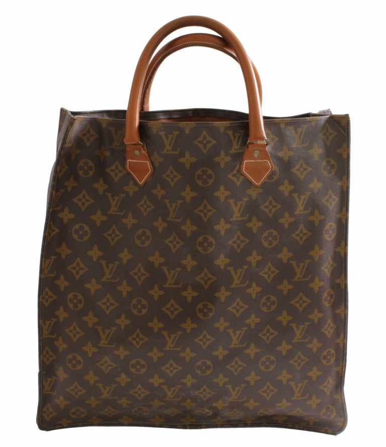 Louis Vuitton Sac Plat Monogram Tote Bag + Removable Pouch French Company 1970s In Good Condition For Sale In Port Saint Lucie, FL