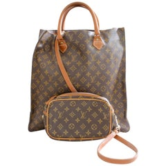 Louis Vuitton Sac Plat Monogram Tote Bag + Removable Pouch French Company 1970s