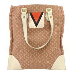 Louis Vuitton Sac Plat Tanger Brown Mini Lin Monogram Canvas Tote Handbag
