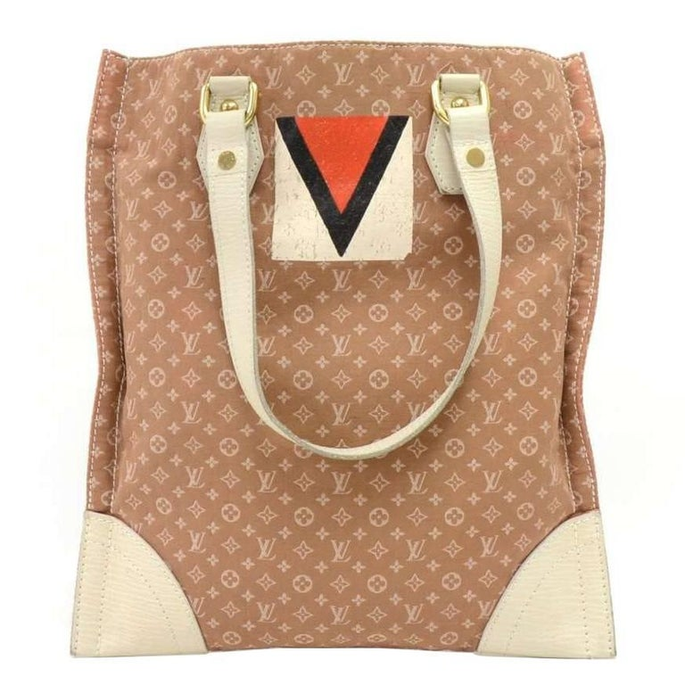 Louis Vuitton Sac Plat Tanger Brown Mini Lin Monogram Canvas Tote Handbag