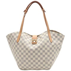 LOUIS VUITTON Salina PM Damier Azur tote bag PVC leather white