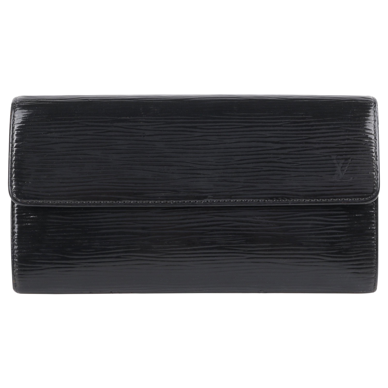 """LOUIS VUITTON """"Sarah"""" Noir Black Electric Epi Leather Front Flap LV Logo Wallet"""