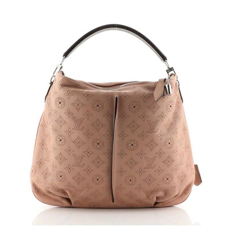 Brown Louis Vuitton Selene Handbag Mahina Leather PM For Sale