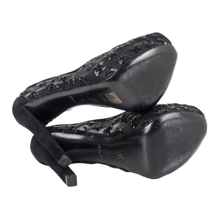 Louis Vuitton Shoe Black Mesh Monogram Paillettes Platform Pump Suede Heel 39/9 For Sale 3