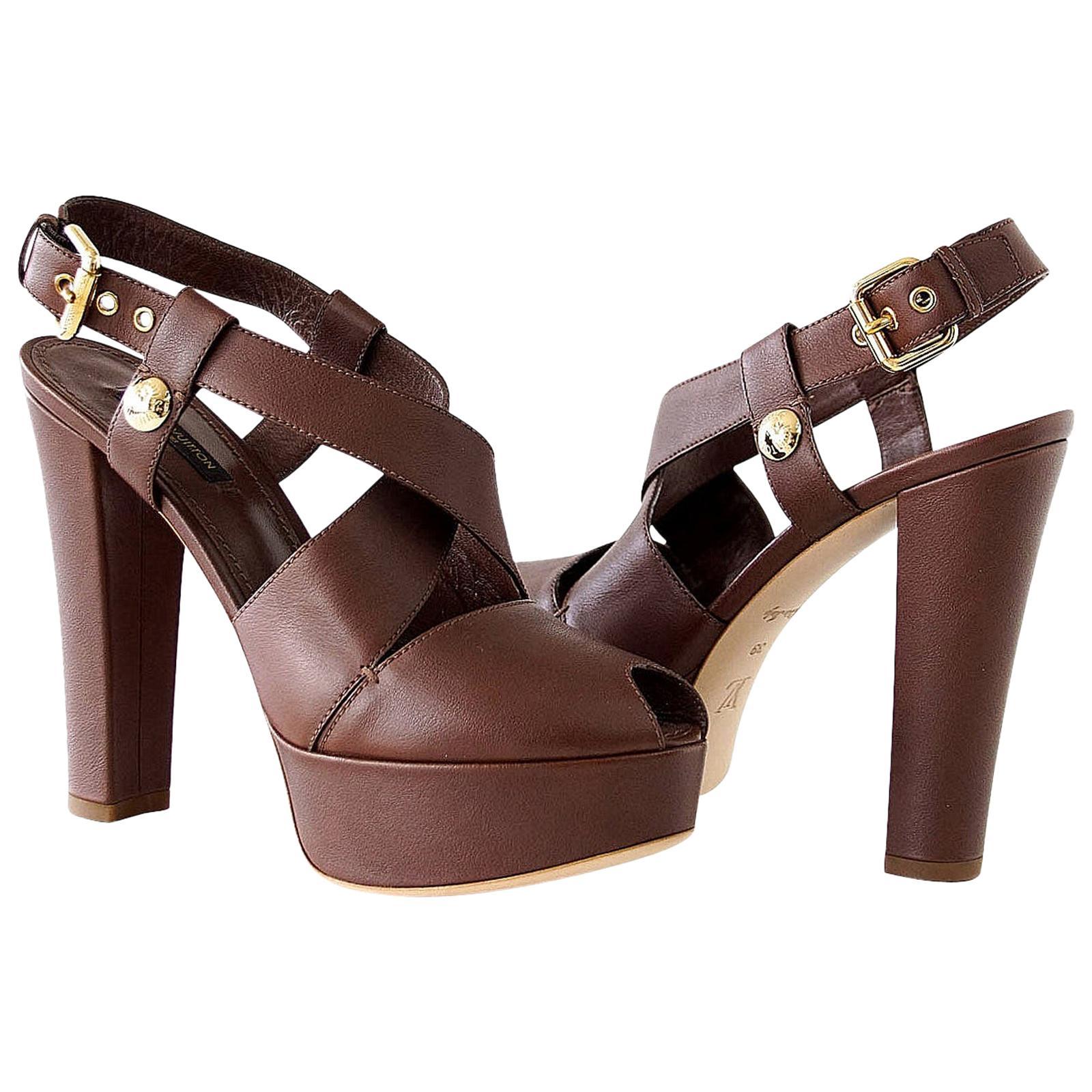 Louis Vuitton Shoe Bold Strap Peeptoe Platform  39 / 9  New