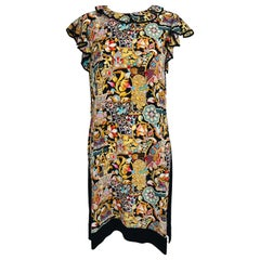 Louis Vuitton Silk Printed Front Knit Back Ruffle Sleeve Dress XL