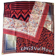 Louis Vuitton Silk Square Scarf Monogram Leopard Tresor Red