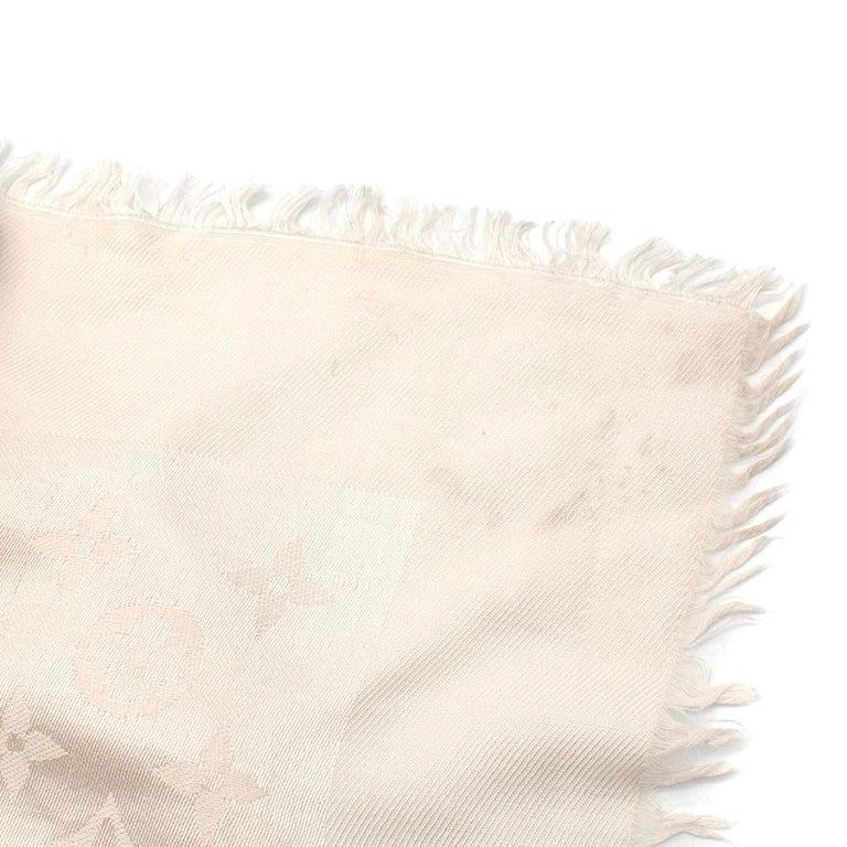 Louis Vuitton Silk & Wool Monogram Cream Scarf For Sale 2
