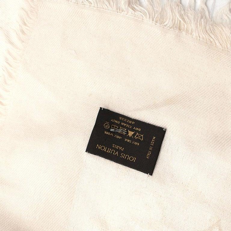 Louis Vuitton Silk & Wool Monogram Cream Scarf For Sale 3