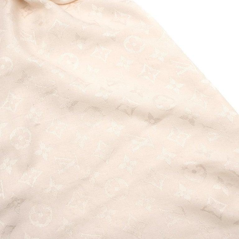 Louis Vuitton Silk & Wool Monogram Cream Scarf For Sale 4