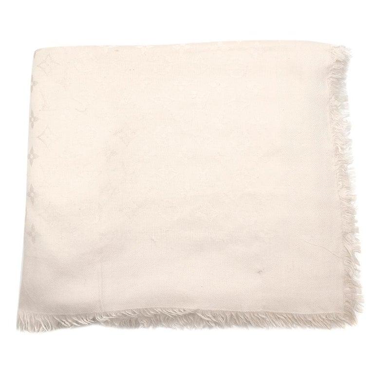 Louis Vuitton Silk & Wool Monogram Cream Scarf For Sale 5