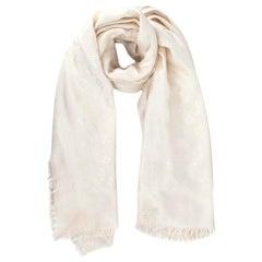 Louis Vuitton Silk & Wool Monogram Cream Scarf