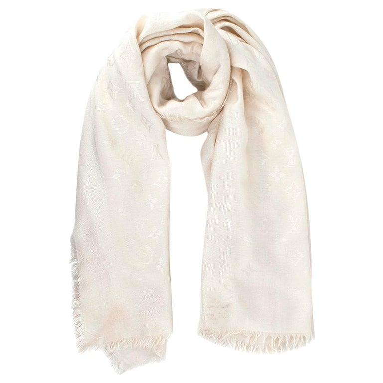 Louis Vuitton Silk & Wool Monogram Cream Scarf For Sale