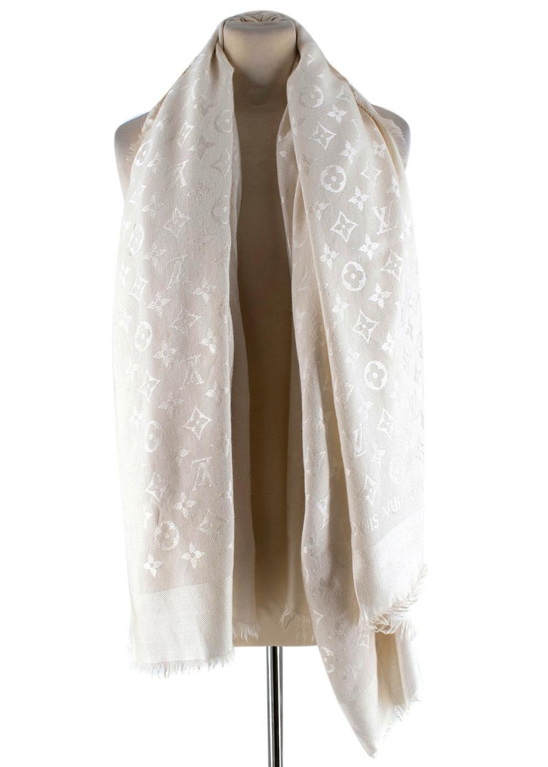 Louis Vuitton Monogram Silk & Wool Scarf   - Soft silk blend  - Light cream shade with shiny LV monogram twill - Raw fridge edges - Squared shape - Light weight material  Made in Italy  Fabric Composition: 60% Silk 40%