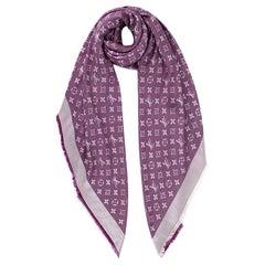 Louis Vuitton Silk & Wool Monogram Lavender Shine Shawl