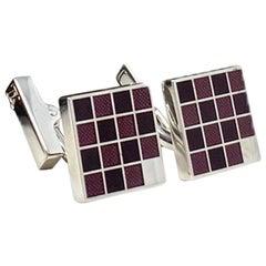 LOUIS VUITTON: silver and Purple Grid Cufflinks
