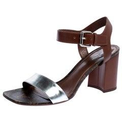 Louis Vuitton Silver/Brown Monogram Canvas Silhouette Sandals Size 39.5