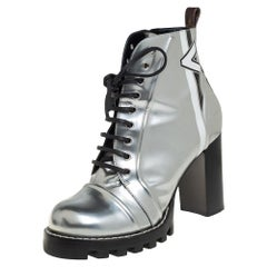 Louis Vuitton Silver Leather Spaceship Ankle Boots Size 40