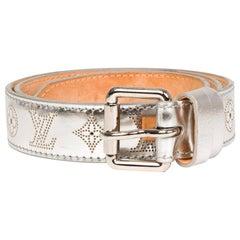 Louis Vuitton Silver Mahina Perforated Metallic Leather Belt (Size 80/32)